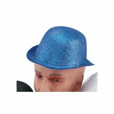 Glitter feest bolhoed met blauwe glitters