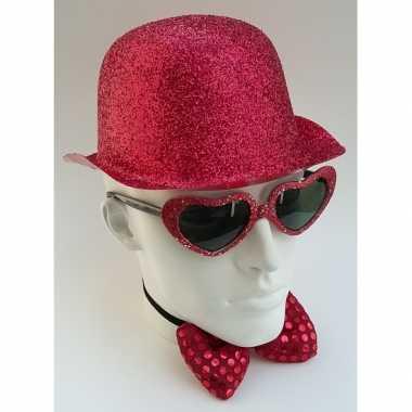 Glitter feest bolhoed met rode glitters