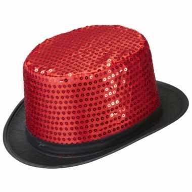 Glitter hoge feesthoeden met rode pailletten