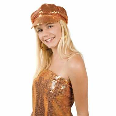 Glitter oranje dames disco pet
