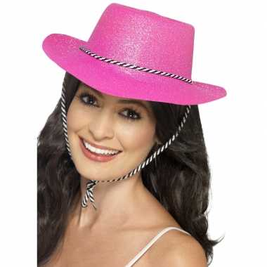 Glitter roze party cowboy hoeden