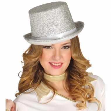 Glitter top hat zilver met glitters