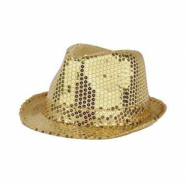 Gouden glitter hoedje bling
