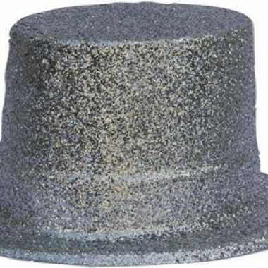 Plastic glitter hoed zilver
