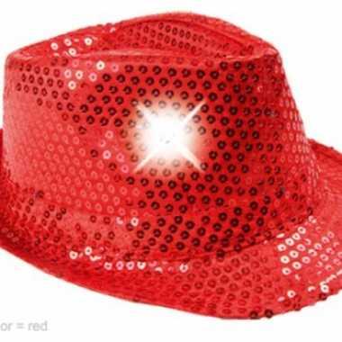 Rood glitter hoedje met led licht