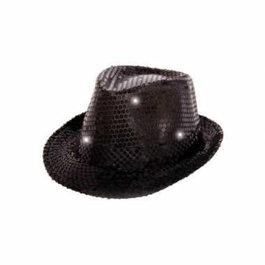 Zwart glitter hoedje met led licht