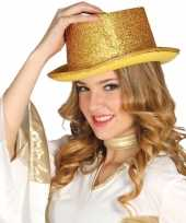 Glitter top hat goud met glitters